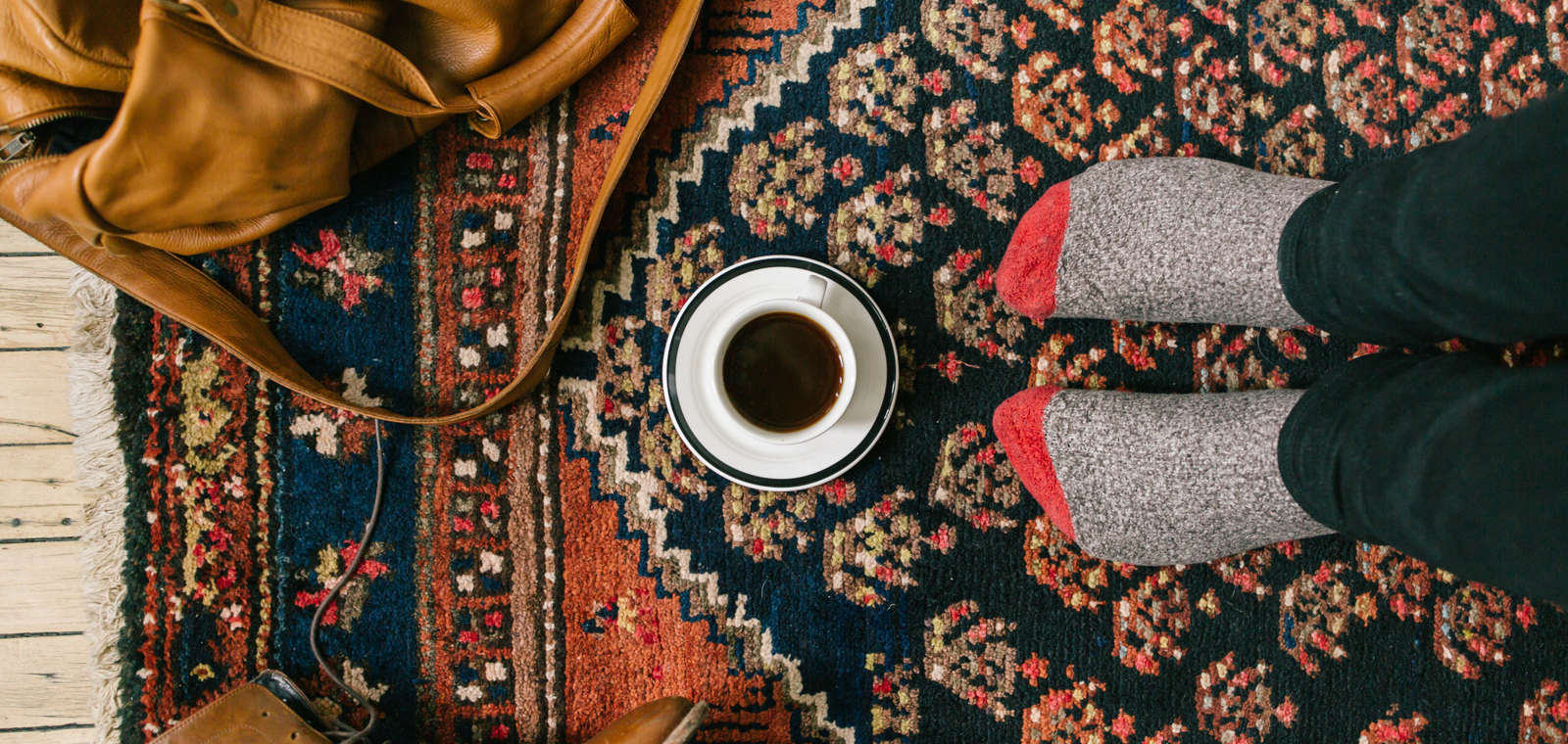 fall staycation, cozy guest room photo, coffee, socked feet
