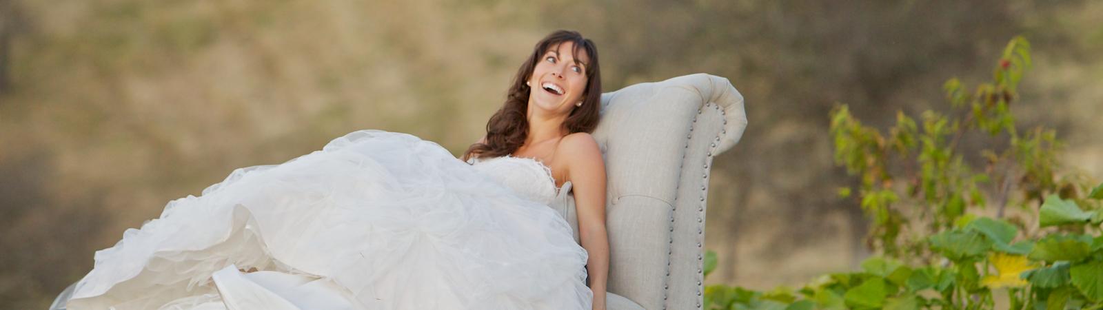 Carmel Valley Ranch_Lifestyle_Weddings_bride on chaise in organic garden