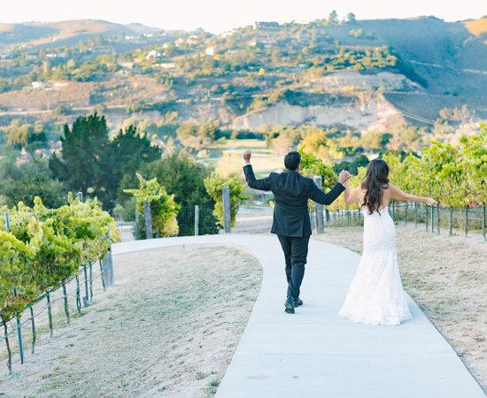 Carmel Valley Ranch_Weddings_couple on vineyard path_2018 agsphotoart