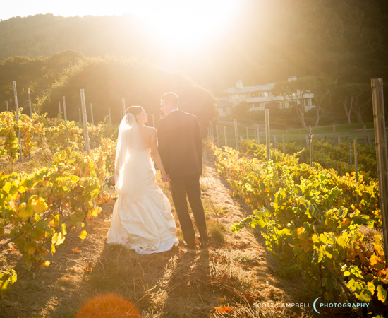 Carmel Valley Ranch_Weddings_couple walking through vineyard sunburst