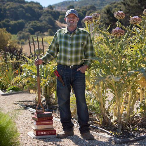 Carmel Valley Ranch_Artisan_Farmer_Mark Marino_pitchfork and books_N5I2376_GJ