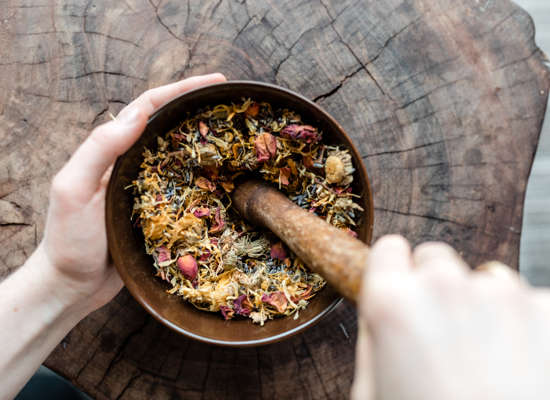 Carmel Valley Ranch_Spa Aiyana_Crushing flowers in mortar pestle_7_SRusso