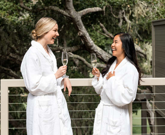 Carmel Valley Ranch_Spa Aiyana_Lifestyle_girls on terrace__fun_champagne_24_SRusso