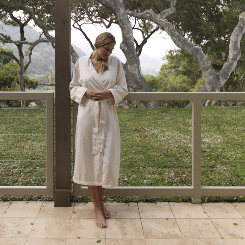 Carmel Valley Ranch_Spa_female in bathrobe on spa terrace