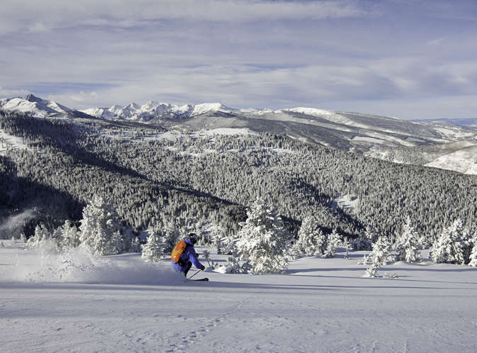 <b>Skier turns in fresh powder in Vail, CO.</b>