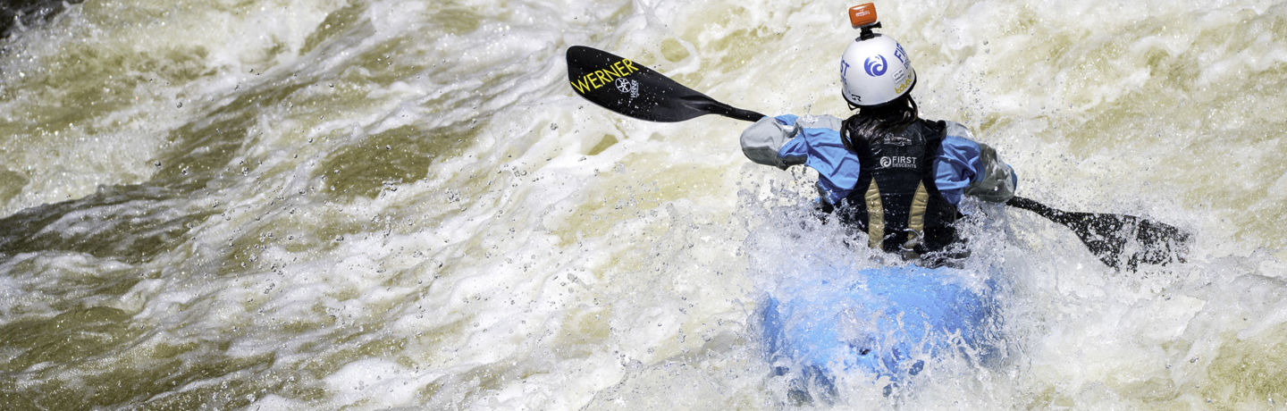<b>Athletes kayak in the river at Go Pro Games in Vail, CO.</b>