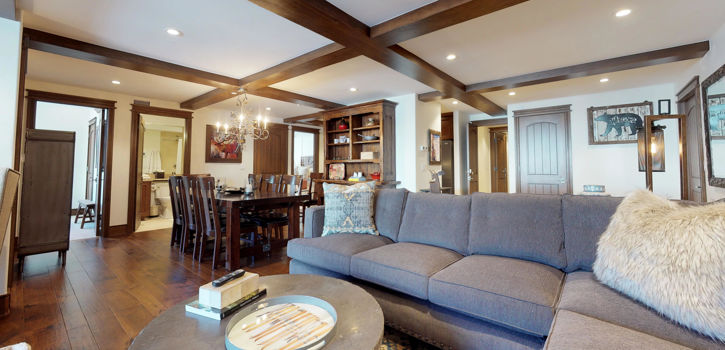 sunriver resort suite living area with fireplace