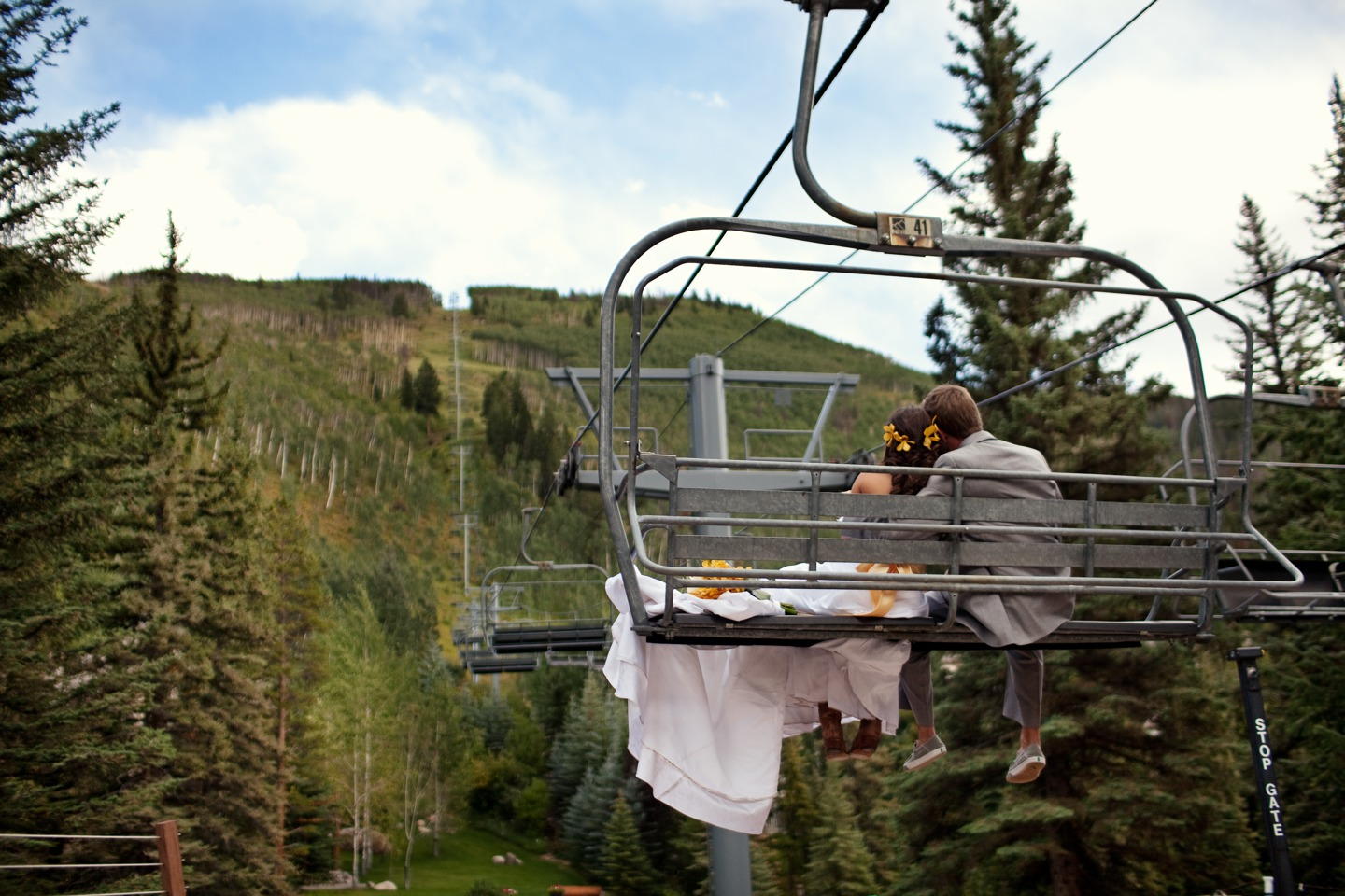Bride and Groom on Chairlift