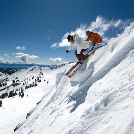 Couple Skiing