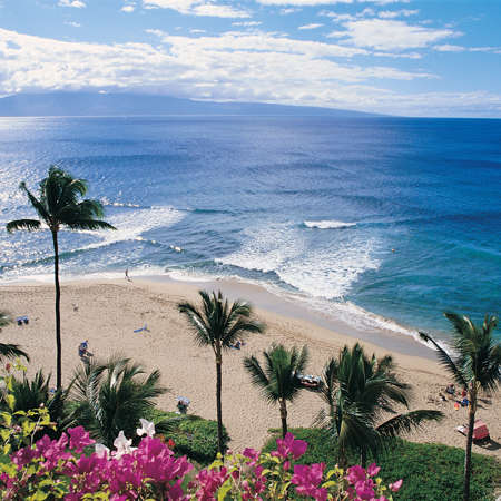 View of Kaanapali Beach from a high floor.