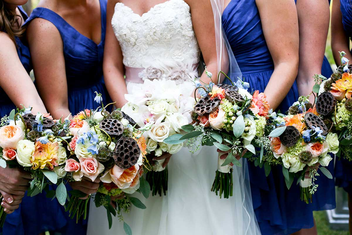 Bride, Bridesmaids, and Flowers