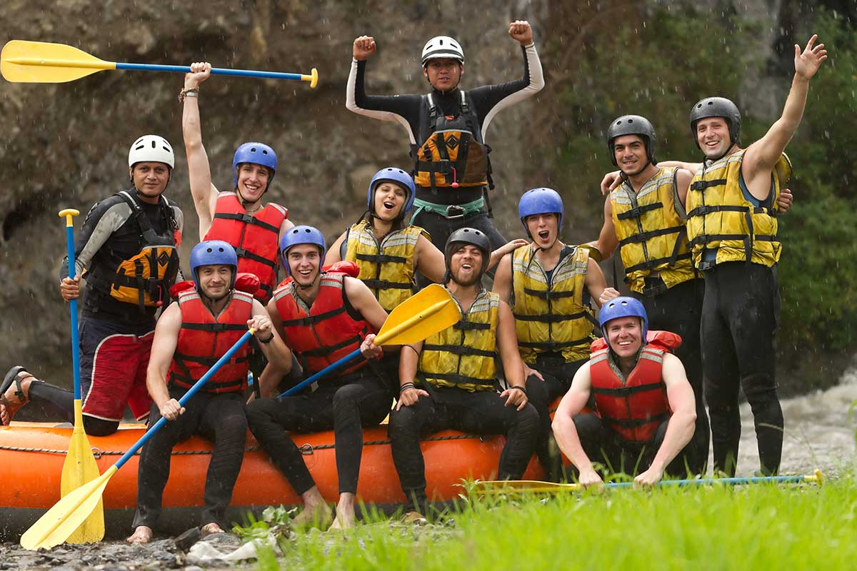 Group of People Rafting