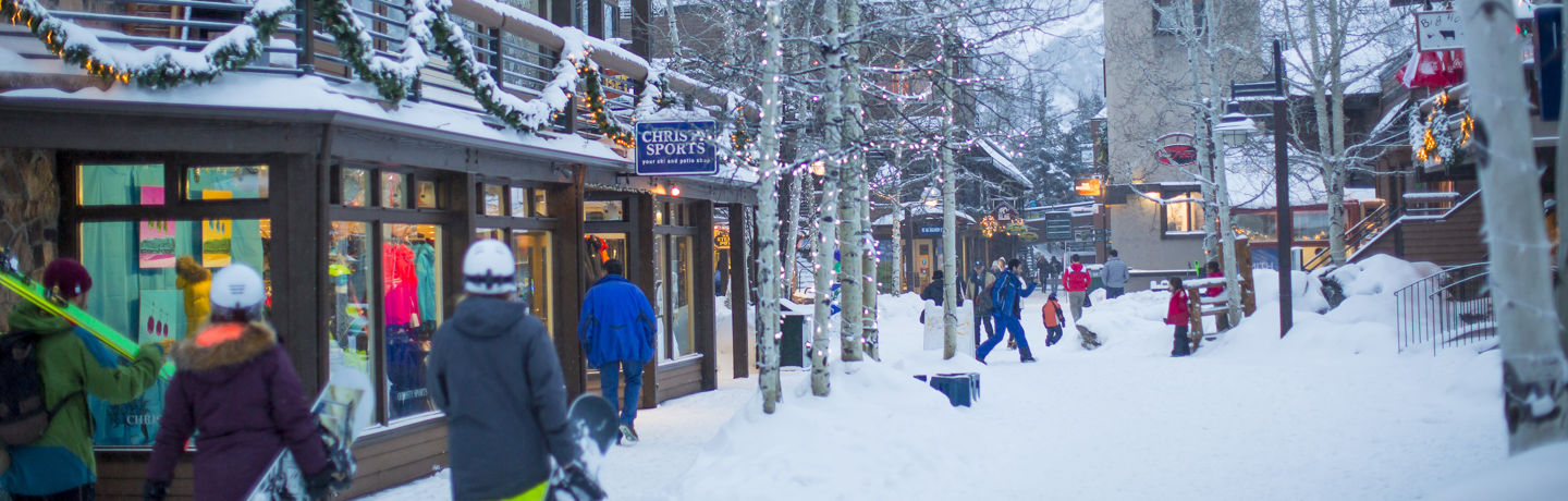 Snowmass Mall courtesy Snowmass Tourism. No expiration of rights. Cannot be used in print advertising 250K+.