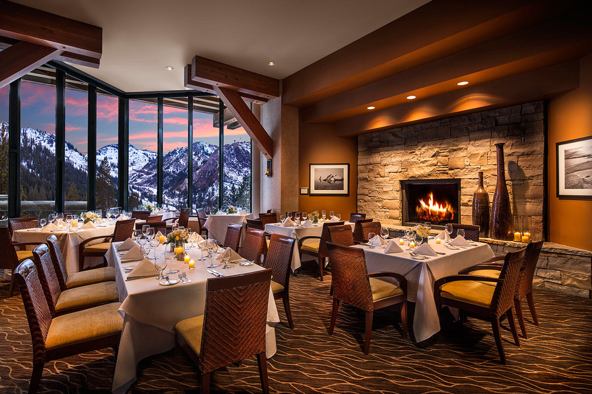 long tables, big windows, fireplace