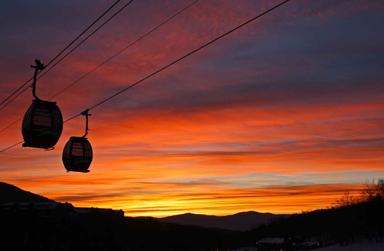 Stowe gondolas at sunset