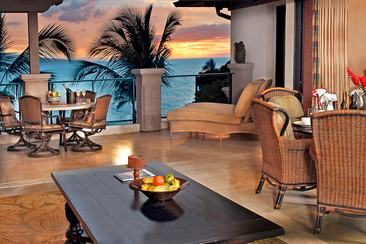 Wailea Beach Villas three bedroom villa at sunset