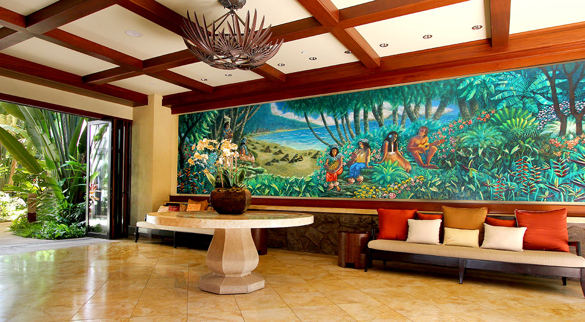 Lower lobby of Wailea Beach Villas