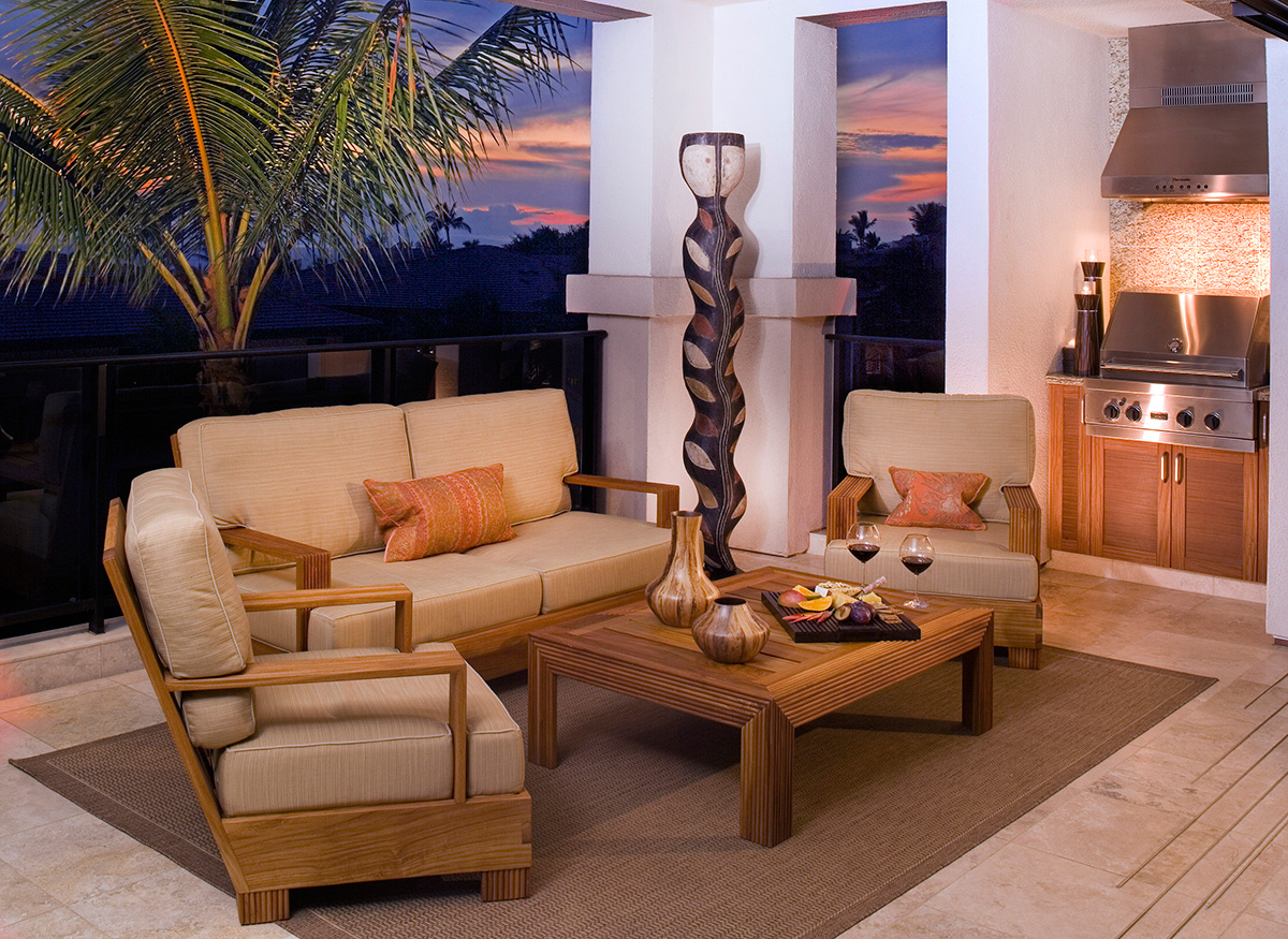 Lanai at sunset Wailea Beach Villas