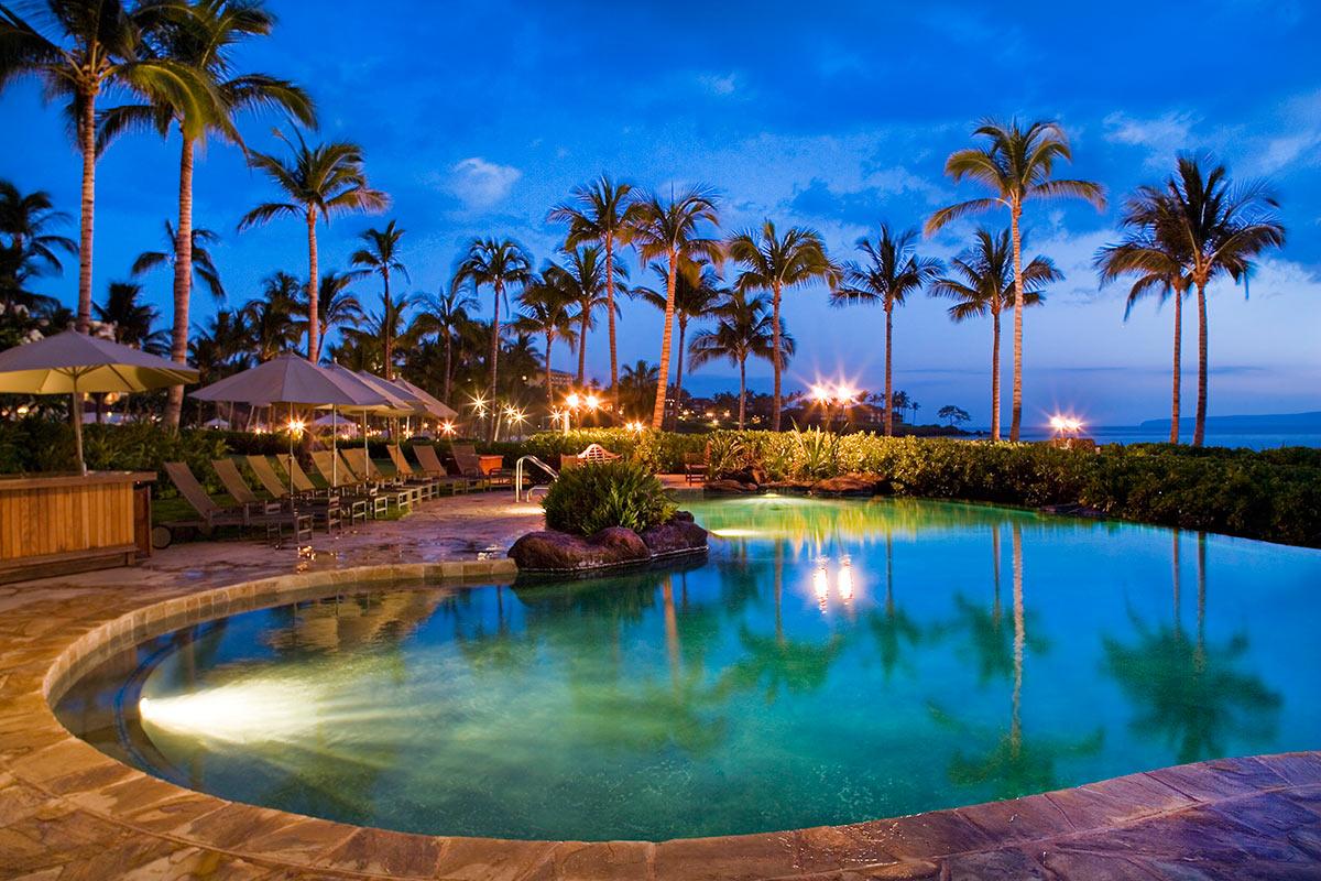 Infinity pool at night at Wailea Beach Villas