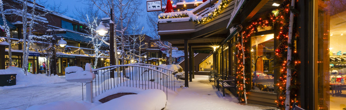 Snowmass Village Mall with holiday lights