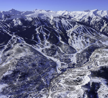 Aerial view of Snowmass Village, CO