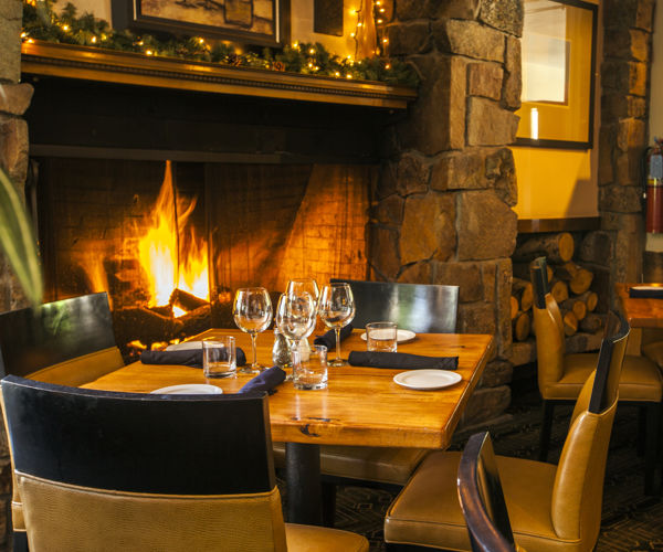 Fireside dining at The Artisan, inside the Stonebridge Inn, Snowmass Village, Colorado