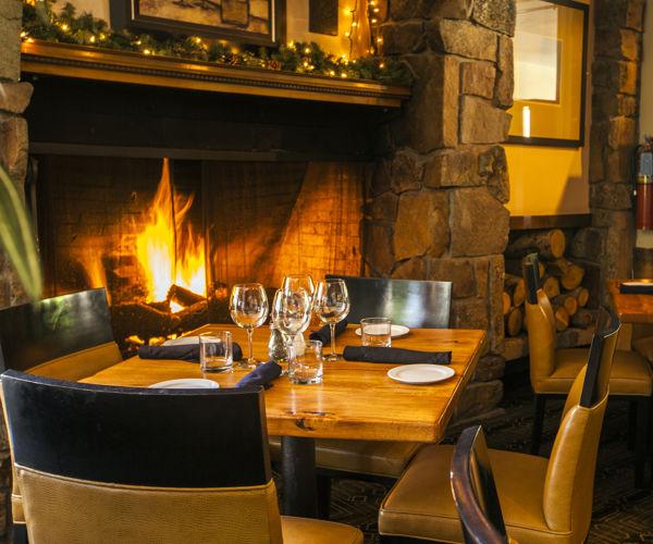 Fireside dining at The Artisan, inside the Stonebridge Inn, Snowmass Village, Colorado