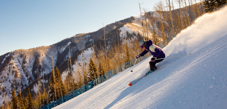 Carving early morning groomers at Aspen Highlands