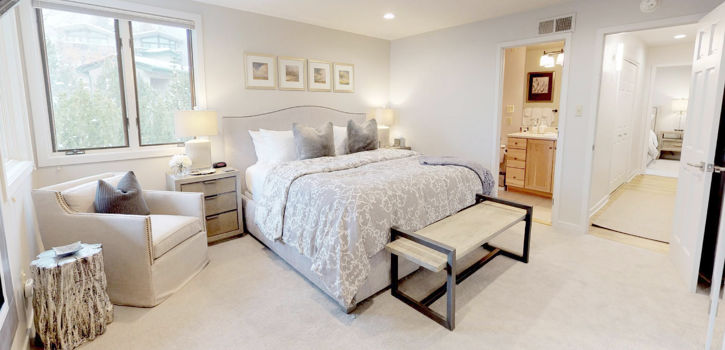 Master bedroom in Tamarack Townhomes, A Destination Residence