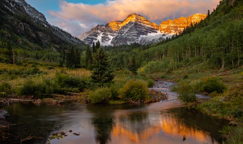 A summer sunset in the Maroon Bells Wilderness, Snowmass Colorado