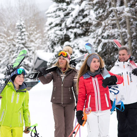 <b>Family Strolls through Village after Skiing in Vail, CO.</b>
