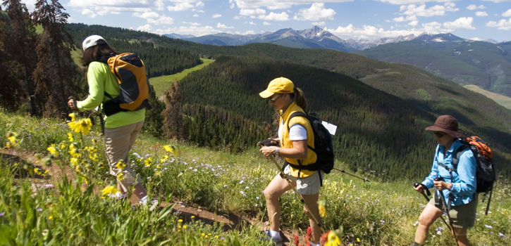Summer hiking with friends near Vail