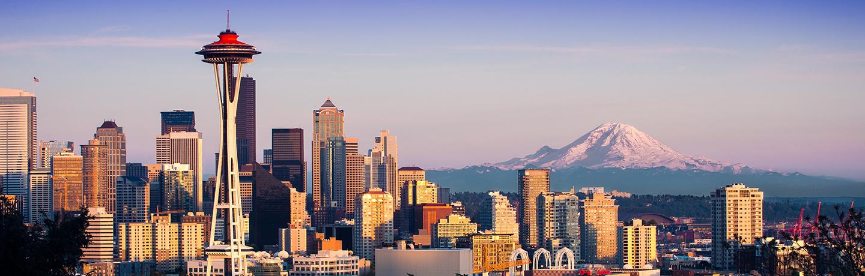 Skyline view of Seattle Washington at dawn