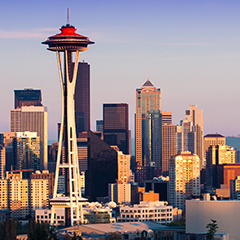 Skyline view of Seattle Washington at dawn