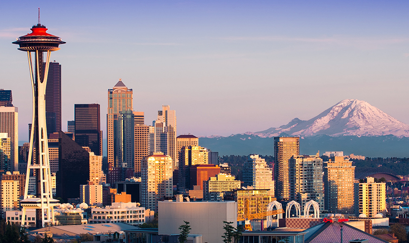 Skyline view of Seattle Washington at dawn.