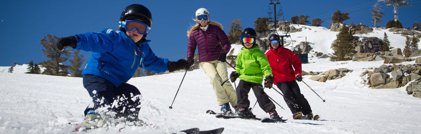 Family skiing at Squaw Valley, Resort at Squaw Creek