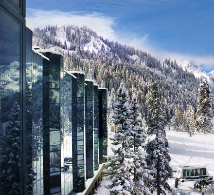 Squaw Creek chair provides ski-in/ski-out access to Squaw Valley ski area from the resort