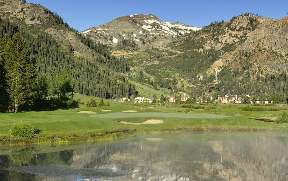 Mountain reflection on golf course pond, Resort at Squaw Creek