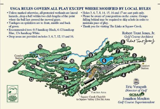 Golf Course Map At Squaw Creek