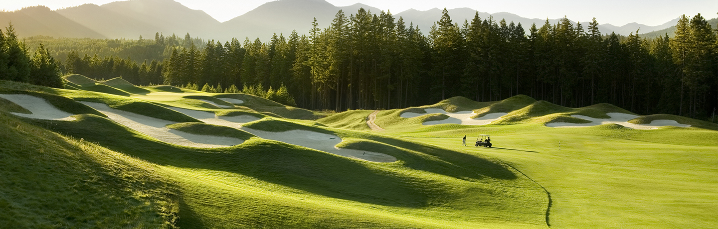 overhead view of golfers on suncadia golf course