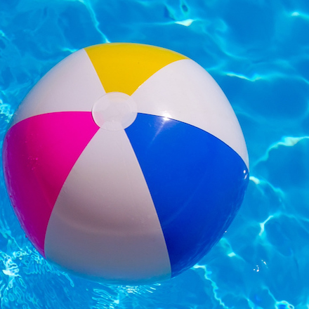 Rubber ball in the pool