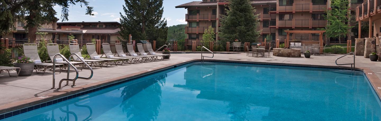The heated outdoor pool at the Stonebridge Inn, Snowmass Village, Colorado