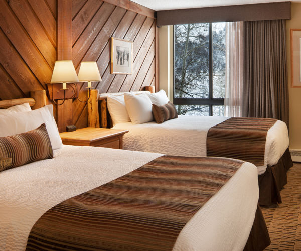 A double queen room at the Stonebridge Inn, Snowmass Village, Colorado