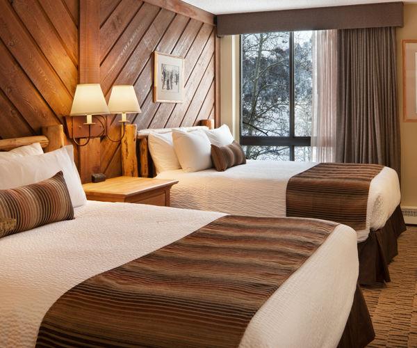 A double queen room at the Stonebridge Inn, Snowmass Village, Colorado