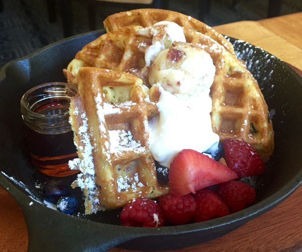 The Maple Bacon Waffle, on the breakfast menu at The Artisan, inside the Stonebridge Inn, Snowmass Village, Colorado
