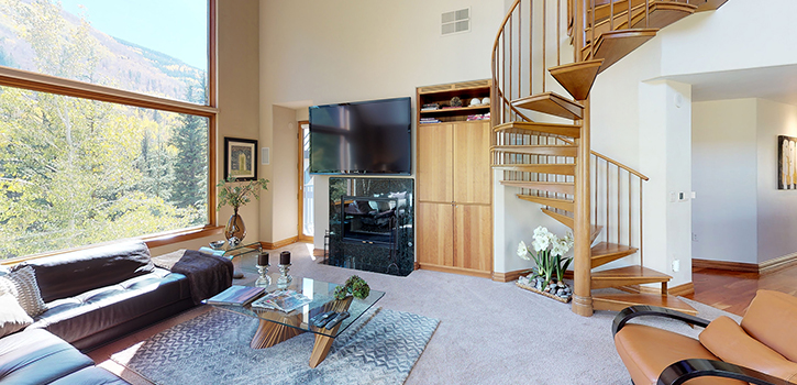 Liftside Condo Living Room With Mountain View