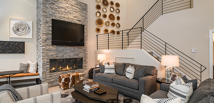 Millrace Condo Living Area With Fireplace