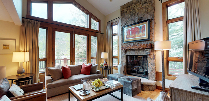 Vacation Home Living Room With Fireplace