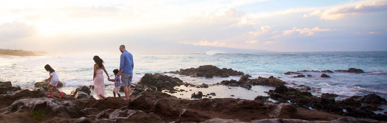 Maui family photo at sunset
