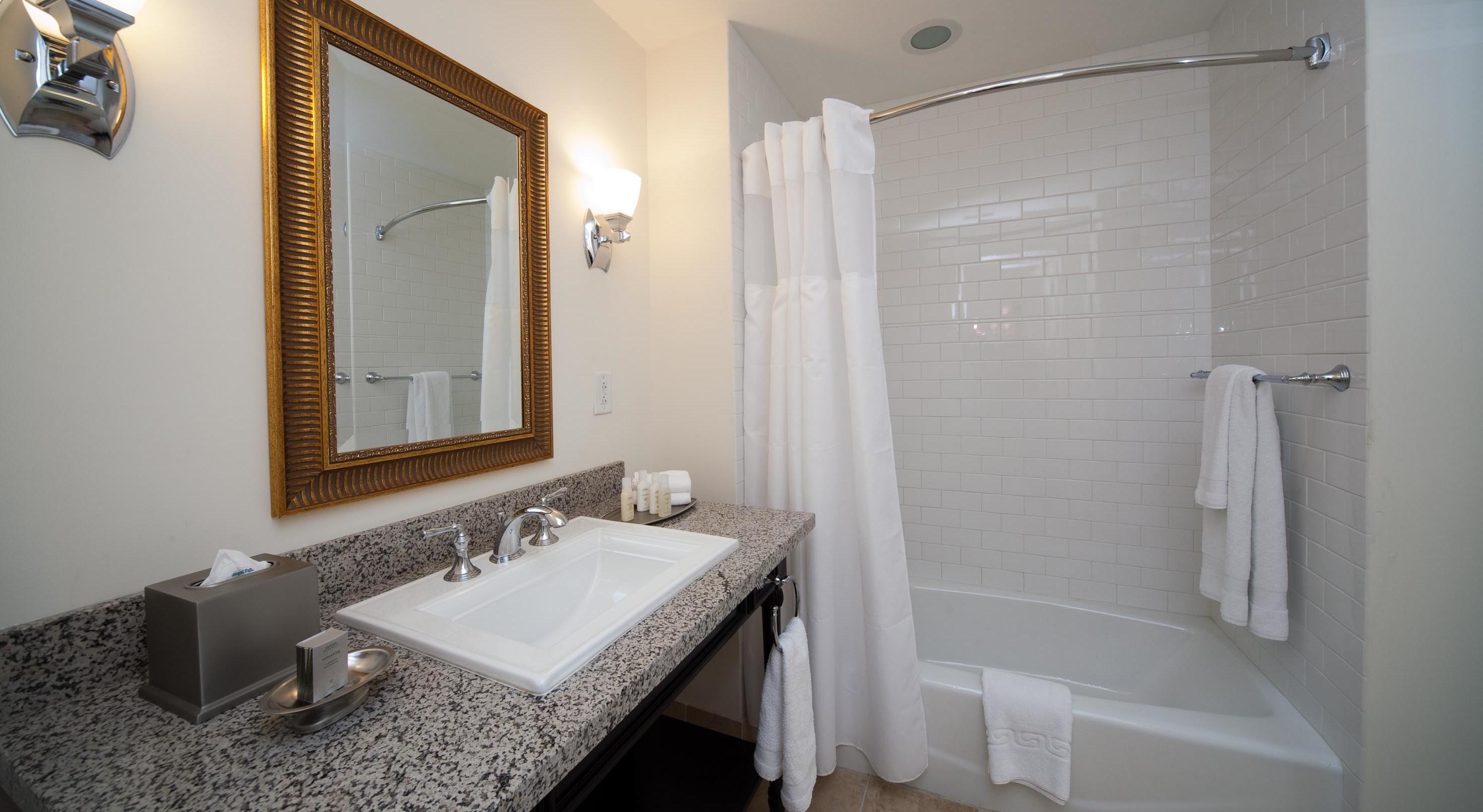 guest room bathroom at wild dunes resort